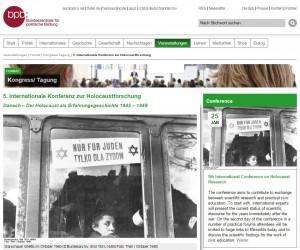 Bildschirmfoto der BpB-Webseite zur Konferenz